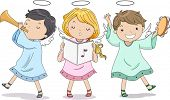 stock photo of angel-trumpet  - Illustration of Cute Boy and Girl Angels Praising with Music - JPG
