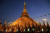 stock photo of yangon  - Old big Shwedagon pagoda in Yangon city  - JPG