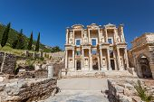 foto of stone sculpture  - Facade of ancient Celsius Library in Ephesus Turkey - JPG