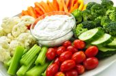 pic of dipping  - Platter of assorted fresh vegetables with dip - JPG