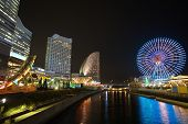 stock photo of minato  - Yokohama skyline at minato mirai area at night view - JPG
