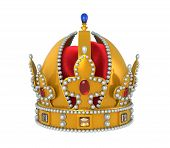 image of crown jewels  - Gold Royal Crown with Jewels isolated on white background - JPG