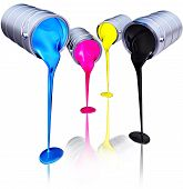 pic of pigments  - high resolution 3D rendering of a CMYK concept - JPG