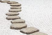 stock photo of stepping stones  - Zen stone path in a Japanese Garden
