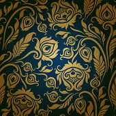 stock photo of brocade  - Vector seamless  floral pattern - JPG
