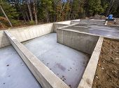 image of foundation  - Concrete foundation for new houses in the suburbs - JPG
