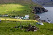 stock photo of faroe islands  - Faroe Islands village of Vidareidi on the island of Vidoy .