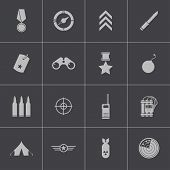 foto of military helicopter  - Vector black  military icons set on gray background - JPG