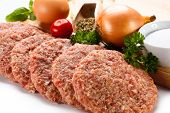 foto of veal meat  - Fresh raw minced meat on white background - JPG