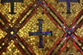 picture of christian cross  - Old Byzantine style glass with gold mosaic tiles - JPG