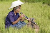 picture of hmong  - old Asian woman with opium pipe historical old pipe of hmong people - JPG
