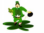 picture of fourleaf  - irish leprechaun in green suit holding fourleaf clover bunch and pot of gold walking on large clover - JPG