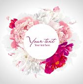 picture of fragrance  - Luxurious pink red and white peony background with a round label - JPG