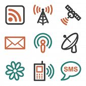 Communication web icons, contour series