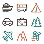Travel web icons, contour series