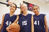 image of 13 year old  - Members Of Female High School Basketball Team - JPG