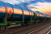 stock photo of fuel tanker  - Cargo railway shipping industry and freght railroad transportation industrial concept - JPG