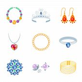 picture of tiara  - Jewelry flat icons set of necklace tiara earrings isolated vector illustration - JPG