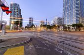 stock photo of railroad car  - A street view of Downtown San Diego California USA at dusk - JPG