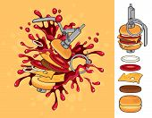 stock photo of grenades  - Vector banner Cheeseburger with a grenade explosion - JPG
