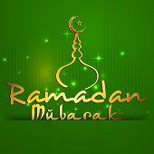 stock photo of ramadan mubarak  - Stylish golden text Ramadan Mubarak with golden mosque on shiny green background for holy month of Muslim community Ramadan Mubarak celebrations - JPG