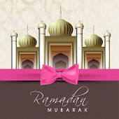 stock photo of muslim  - Shiny mosque with pink ribbon on abstract background for holy month of Muslim community Ramadan Kareem - JPG