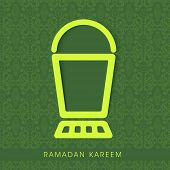 stock photo of neon green  - Stylish lantern in neon green color on seamless floral patterned green background - JPG
