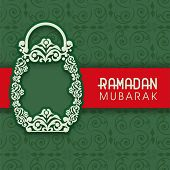 image of ramazan mubarak  - Beautiful floral design decorated arabic lantern on seamless floral pattern green background for celebration of holy month Ramadan Mubarak - JPG