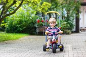 foto of tricycle  - Little toddler driving tricycle or bicycle in home garden - JPG