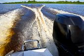pic of outboard engine  - Walk on the river on the high - JPG