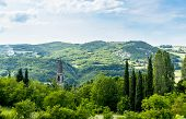 foto of apennines  - Church on the Rolling Hills of the Apennine Mountains Piacenza Italy - JPG