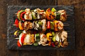 foto of kababs  - Homemade Chicken Shish Kabobs with Peppers and Onions - JPG