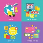 stock photo of payment methods  - Business process concept of online internet shopping payment delivery flat icons set vector illustration - JPG