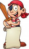 foto of pirate sword  - Cartoon pirate boy holding a paper scroll and a sword - JPG
