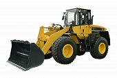 image of wheel loader  - Yellow Wheel Loader isolated on white background - JPG