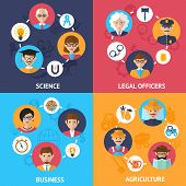 image of science  - Teamwork people group decorative icons science legal officers business agriculture set flat isolated vector illustration - JPG