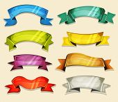 stock photo of scroll  - Illustration of a set of various cartoon fresh colorful circus banners ribbons swirls awards and scrolls to use as design elements inside ui game - JPG