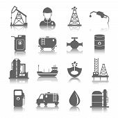 stock photo of oil can  - Oil industry gasoline processing symbols icons set with tanker truck petroleum can and pump isolated vector illustration - JPG