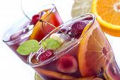 image of sangria  - Sangria with citrus and other fruit on a white background - JPG
