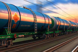image of fuel tanker  - Cargo railway shipping industry and freght railroad transportation industrial concept - JPG