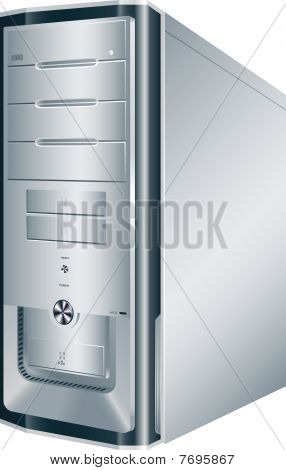 Picture or Photo of Computer, system unit, case, white, desktop, realistic, tower, vector