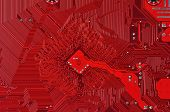 image of microprocessor  - Close up of a printed red computer circuit board - JPG