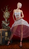 image of dowry  - beautiful young woman in white dress on red background