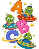 Постер, плакат: Illustration Featuring Little Aliens in Spaceships Driving Around the Letters of the Alphabet