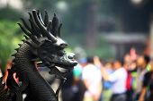 image of dragon head  - Color horizontal picture of a metal head of a Dragon in China.
