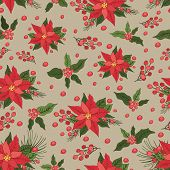 picture of poinsettia  - Christmas seamless pattern - JPG