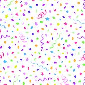 image of confetti  - Seamless pattern with streamer and confetti - JPG