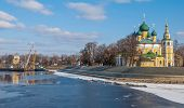 stock photo of uglich  - The embankment of Uglich with Transfiguration Cathedral - JPG
