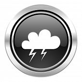 storm icon, black chrome button, waether forecast sign  poster