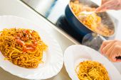 pic of spaghetti  - Proces of preparing spaghetti Bolognese thru the stages - JPG
